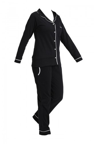 Uzun Kollu Pijama Takımı 2717-01 Siyah