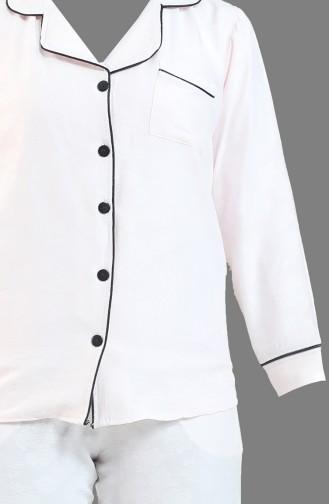 Cepli Düğmeli Pijama Takım 1355-01 Pembe 1355-01
