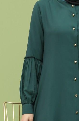 Kolyeli Tunik Pantolon İkili Takım 12010-01 Zümrüt Yeşili