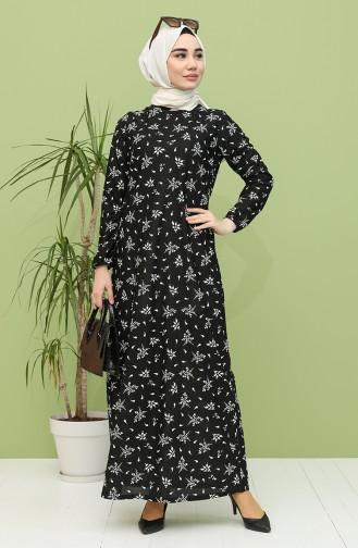 Desenli Elbise 4444-01 Siyah