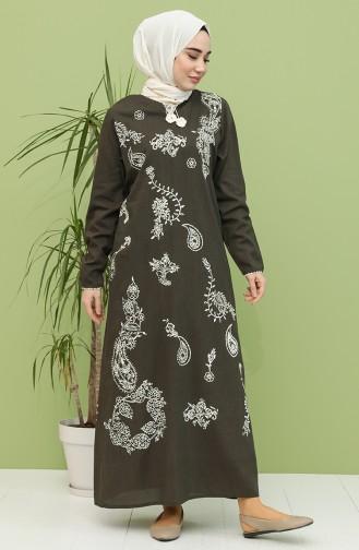 Khaki Hijab Dress 5004-04