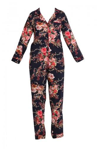 Dunkelblau Pyjama 1344-01