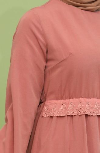 Dantel Detaylı Elbise 4352-03 Soğan Kabuğu