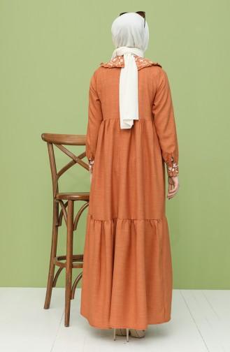 فستان قرميدي 21Y8281-02