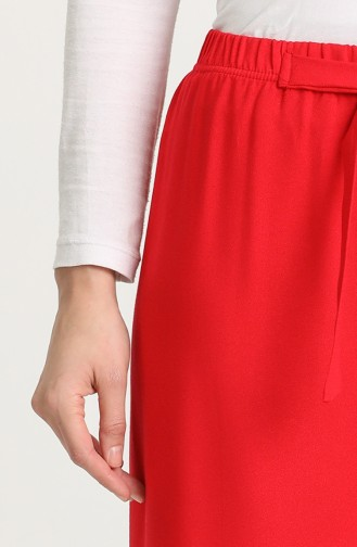 Beli lastikli Bol Paça Pantolon 0307-06 Kırmızı