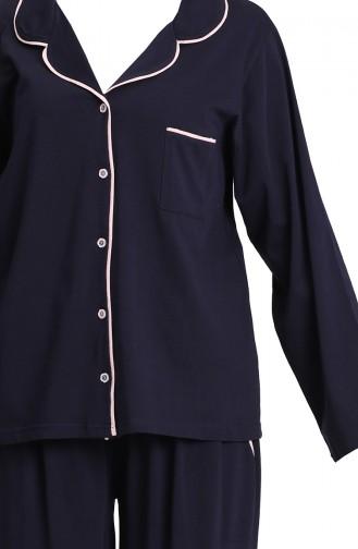 Dunkelblau Pyjama 202052-01