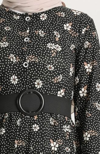 Desenli Elbise 4400-02 Siyah Vizon 4400-02