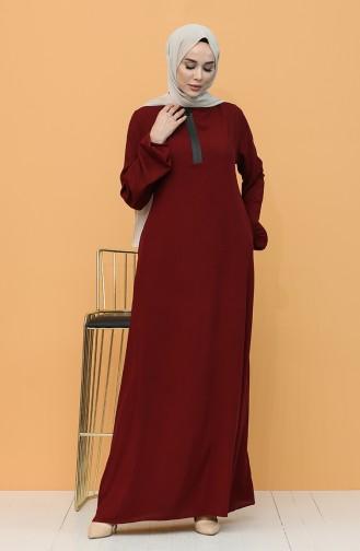 فستان أحمر كلاريت 8000-04