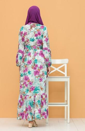 Kuşaklı Desenli Elbise 1060-05 Zümrüt Yeşili