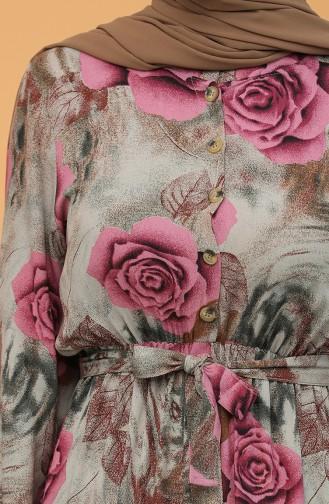 Beli Lastikli Kuşaklı Elbise 1062-04 Lila