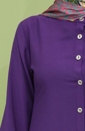 Düğmeli Uzun Tunik Pantolon İkili Takım 12012-03 Mor