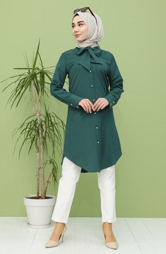 Kravat Yaka Düğmeli Tunik 5003-03 Zümrüt Yeşili