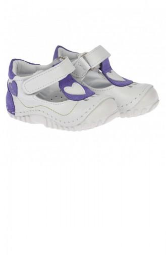 Kiko Kids Teo 103 100 Deri Orto Pedik Cırtlı Kız Çocuk Ayakkabı Beyaz Mor
