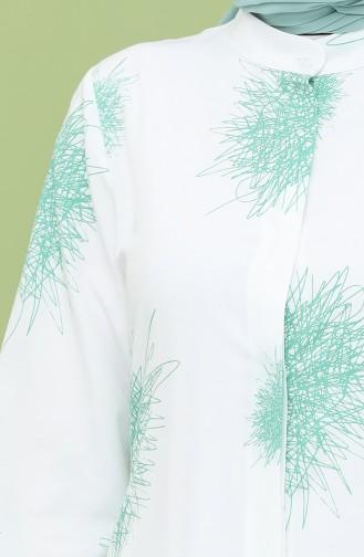 Desenli Tunik 3193-03 Zümrüt Yeşili 3193-03