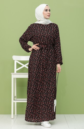 Beli Lastikli Kuşaklı Elbise 21Y8256-04 Siyah