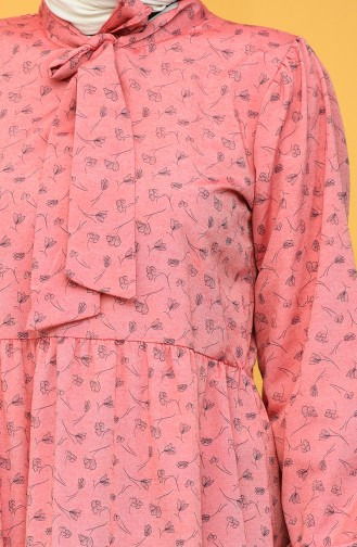 Desenli Büzgülü Elbise 1444-06 Kırmızı