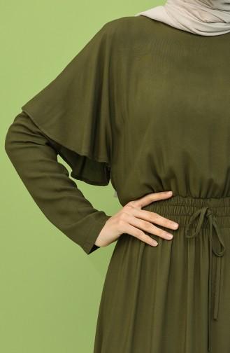 Beli Lastikli Volanlı Elbise 8313-05 Yeşil