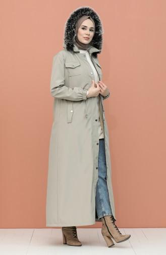 Furry Lined Long Coat 4054A-01 Beige 4054A-01
