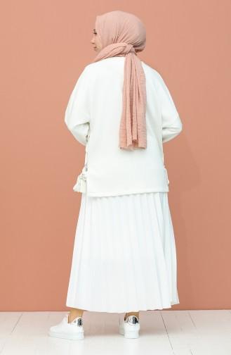 Piliseli Etek 5029-03 Beyaz