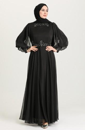 İşleme Detaylı Abiye Elbise 52779-02 Siyah