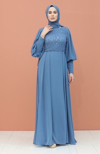 Indigo İslamitische Avondjurk 4852-02
