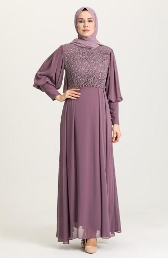 Dark Lilac İslamitische Avondjurk 4852-04