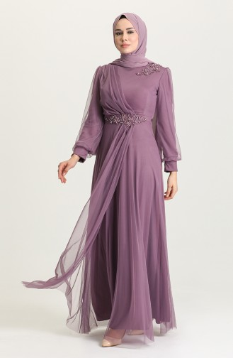Dunkel-Lila Hijab-Abendkleider 4857-03