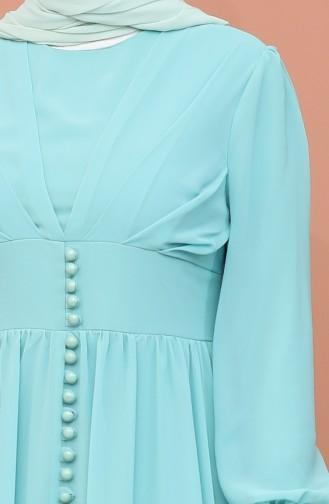 Düğme Detaylı Şifon Abiye Elbise 4211-03 Mint Yeşili