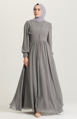 Gray Hijab Evening Dress 4211-06