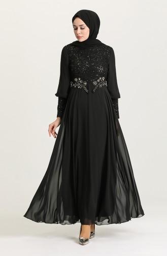 Schwarz Hijab-Abendkleider 4213-01