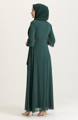 Pullu Abiye Elbise 4213-03 Zümrüt Yeşili
