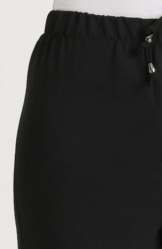 Aerobin Kumaş Bol Paça Pantolon 0611-03 Siyah