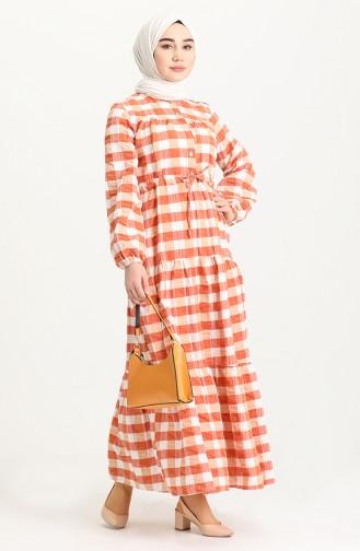 فستان قرميدي 5322-01