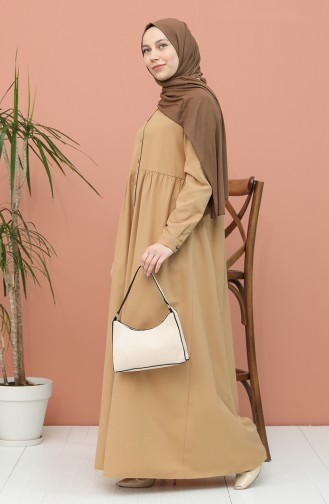 Robe Hijab Beige Foncé 5037-21