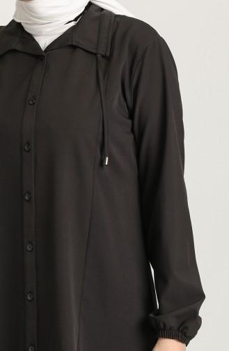 Düğmeli Tunik 1408-04 Siyah