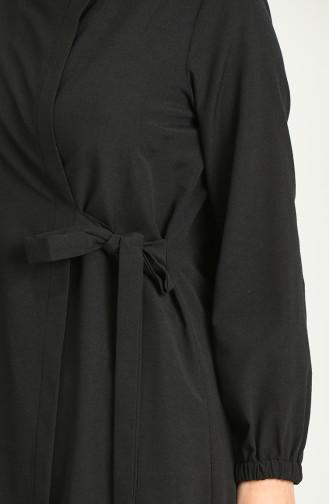 Yandan Bağlamalı Ferace 4058-01 Siyah