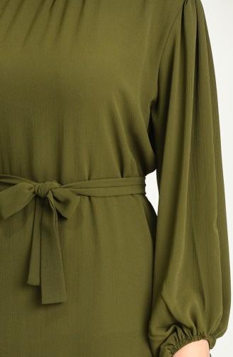 Khaki Hijab Dress 3254-03