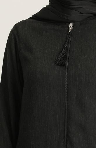 Fermuarlı Ferace 1070-01 Siyah