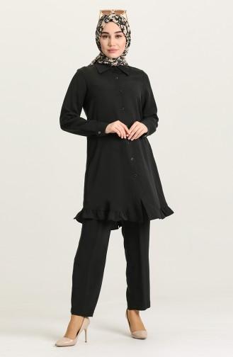 Fırfırlı Tunik Pantolon İkili Takım 2428-01 Siyah