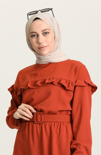 Ziegelrot Hijap Kleider 0609-01