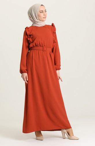 Ziegelrot Hijap Kleider 0610-08