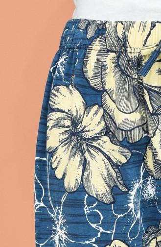 Beli Lastikli Desenli Pantolon 8246-01 İndigo