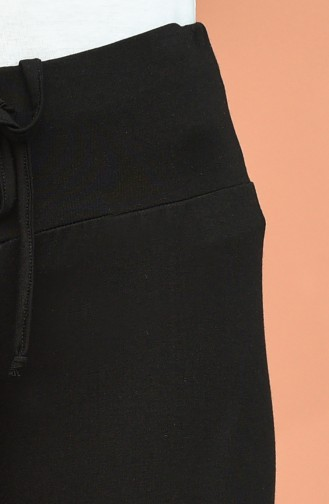 Beli lastikli Bol Paça Pantolon 0074-01 Siyah 0074-01