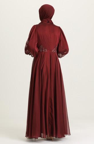 İşleme Detaylı Abiye Elbise 52779-05 Bordo