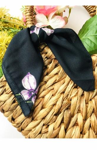 Çiçek Desenli Krep Çanta Fular 61837-01 Siyah Mor