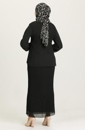 Piliseli Tunik Etek İkili Takım 202022-08 Siyah