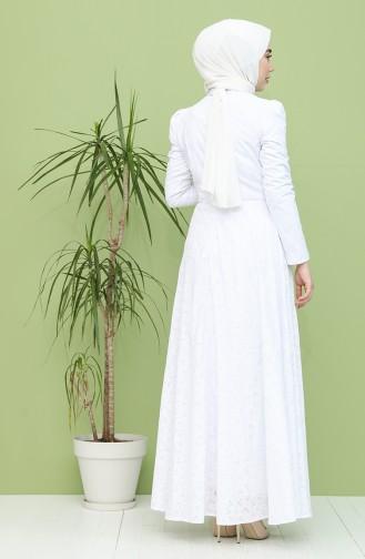 Weiß Hijab-Abendkleider 7286-01