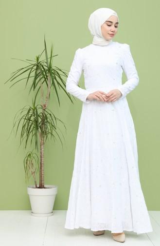 Astarlı Kloş Abiye Elbise 7287-01 Beyaz