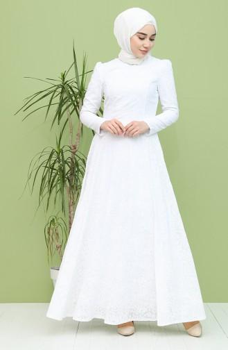 White Hijab Evening Dress 7289-02