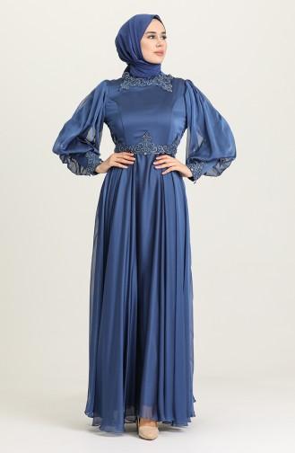 Indigo Hijab-Abendkleider 52779-01